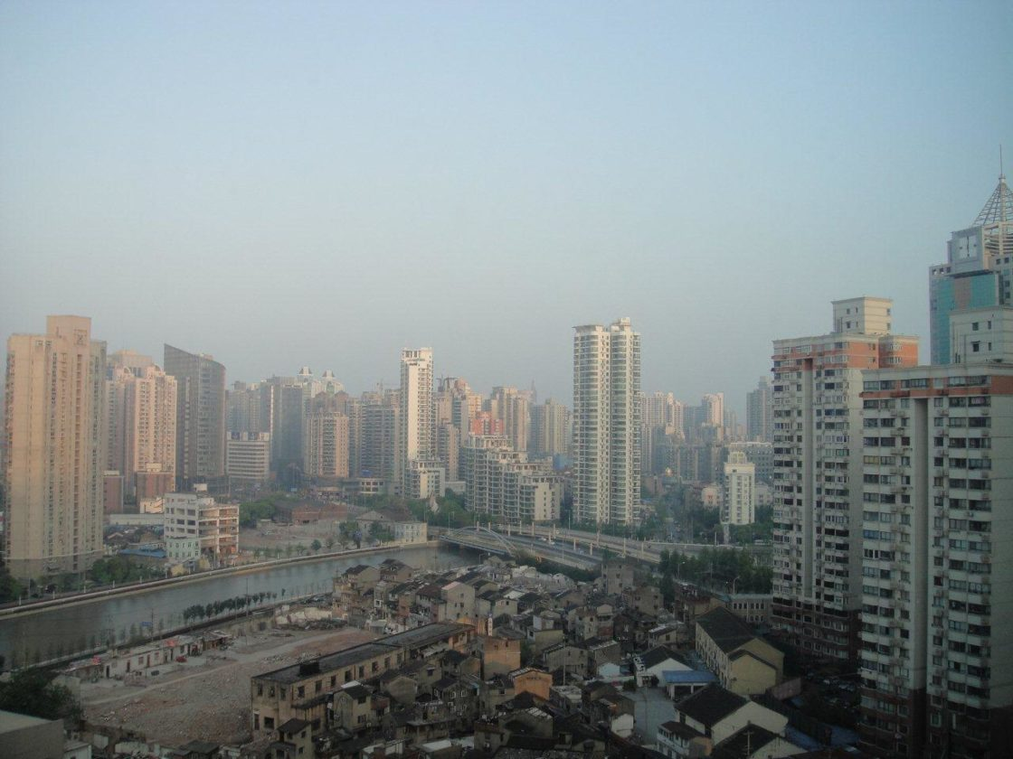 Shanghai, fin avril, vue d'hôtel.