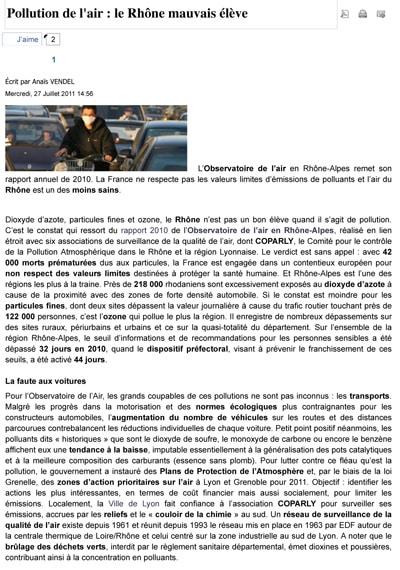 Le Rhône aime la pollution de l'air