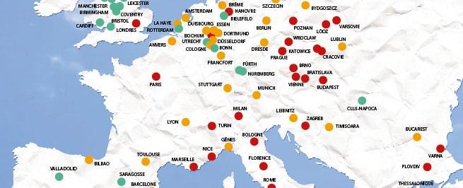 Classement de la qualité de l'air – les 100 plus grandes villes européennes