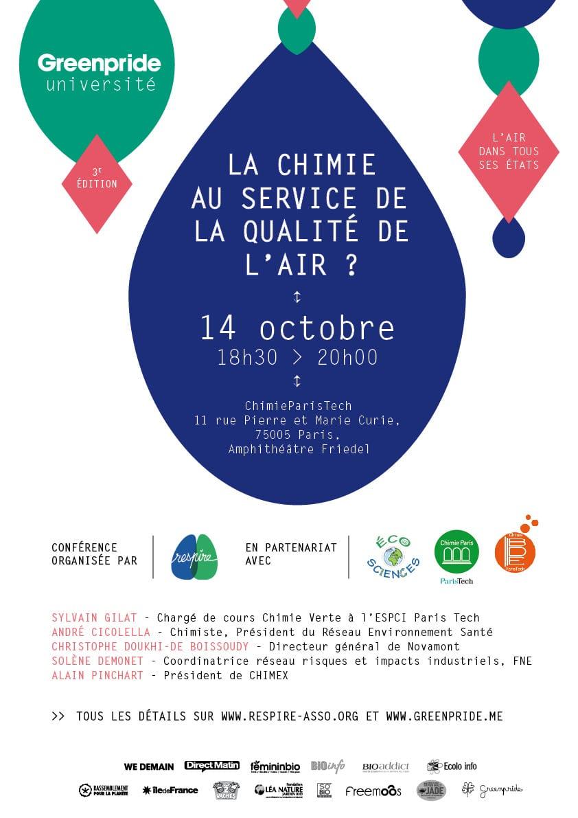 Conférence-débat: La chimie au service de la qualité de l'air? Aujourd'hui à 18:30!