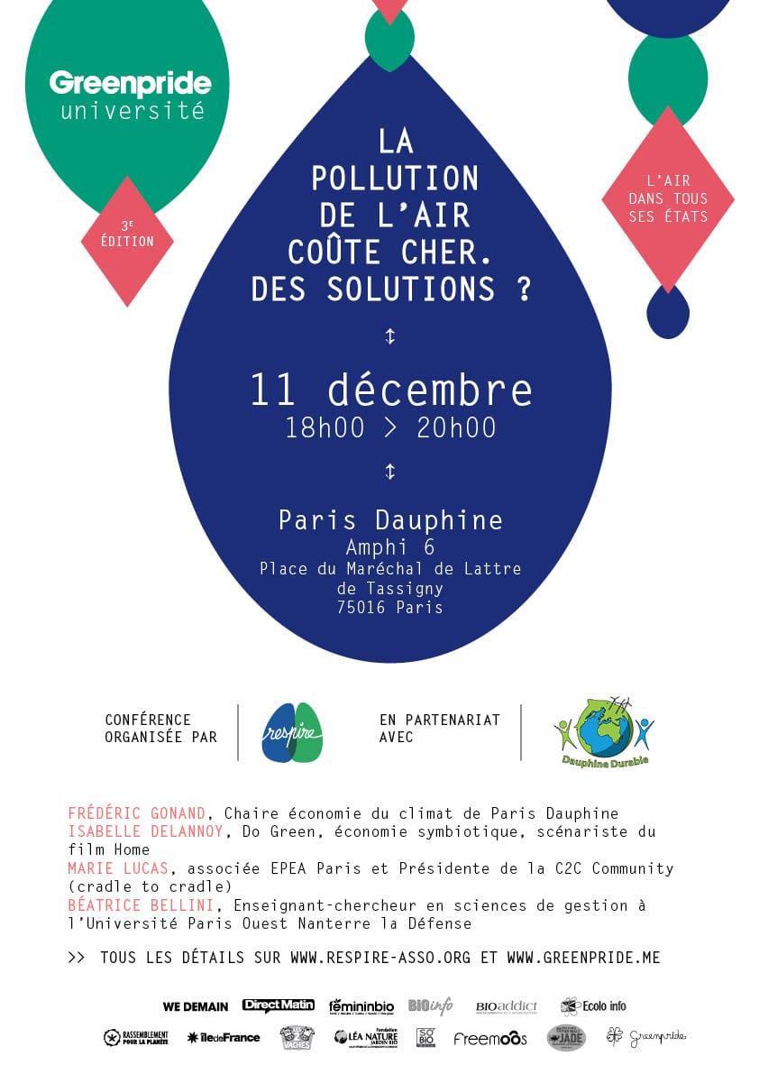 Pollution de l'air et économie (coûts et solutions): dernière conférence-débat du cycle #UniversitédelAir ce soir 18h à Dauphine!