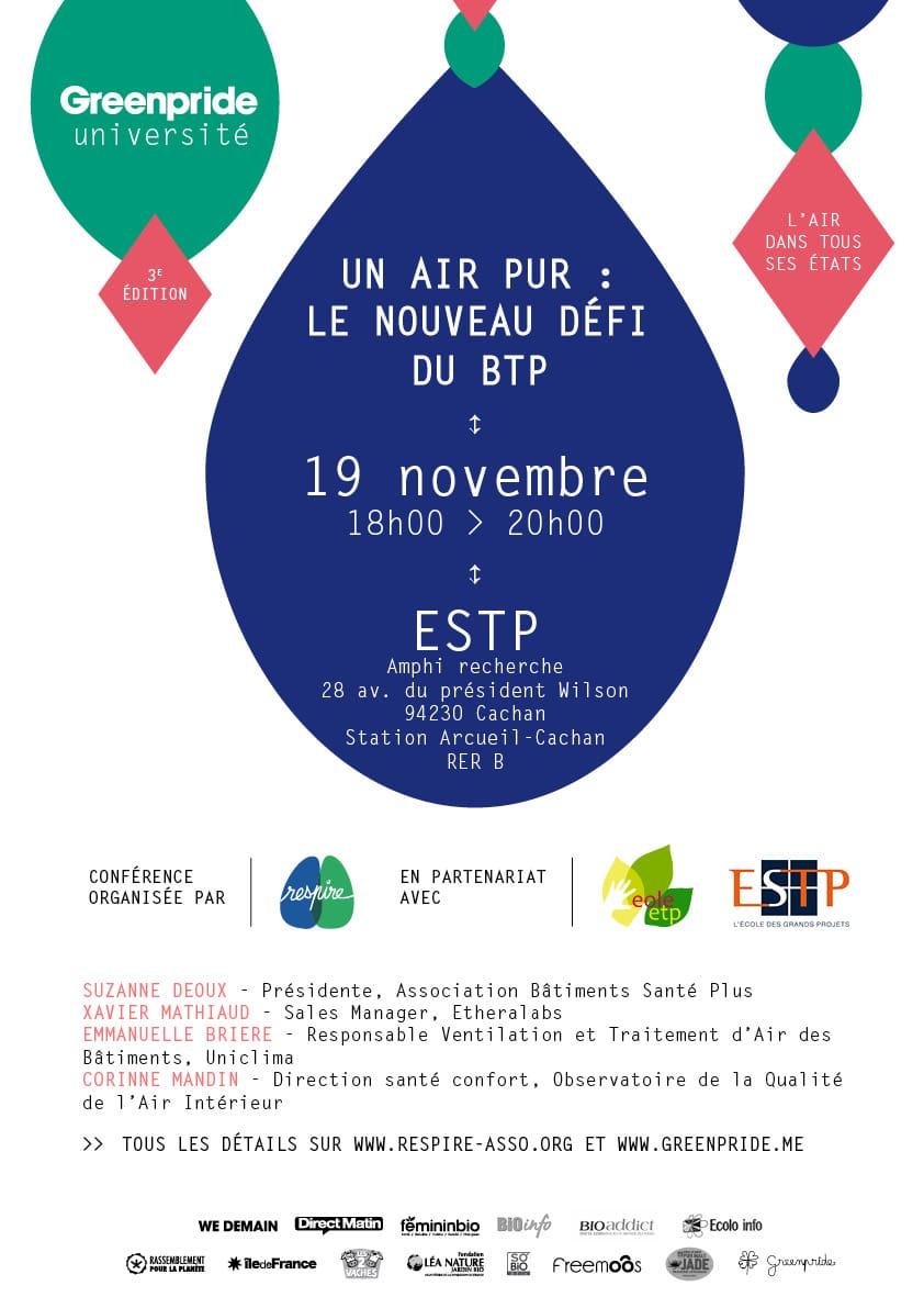 Ce soir! Conférence-débat: Un air pur à l'intérieur, le nouveau défi du BTP, ce soir 19 novembre, à 18:00 à l'ESTP!