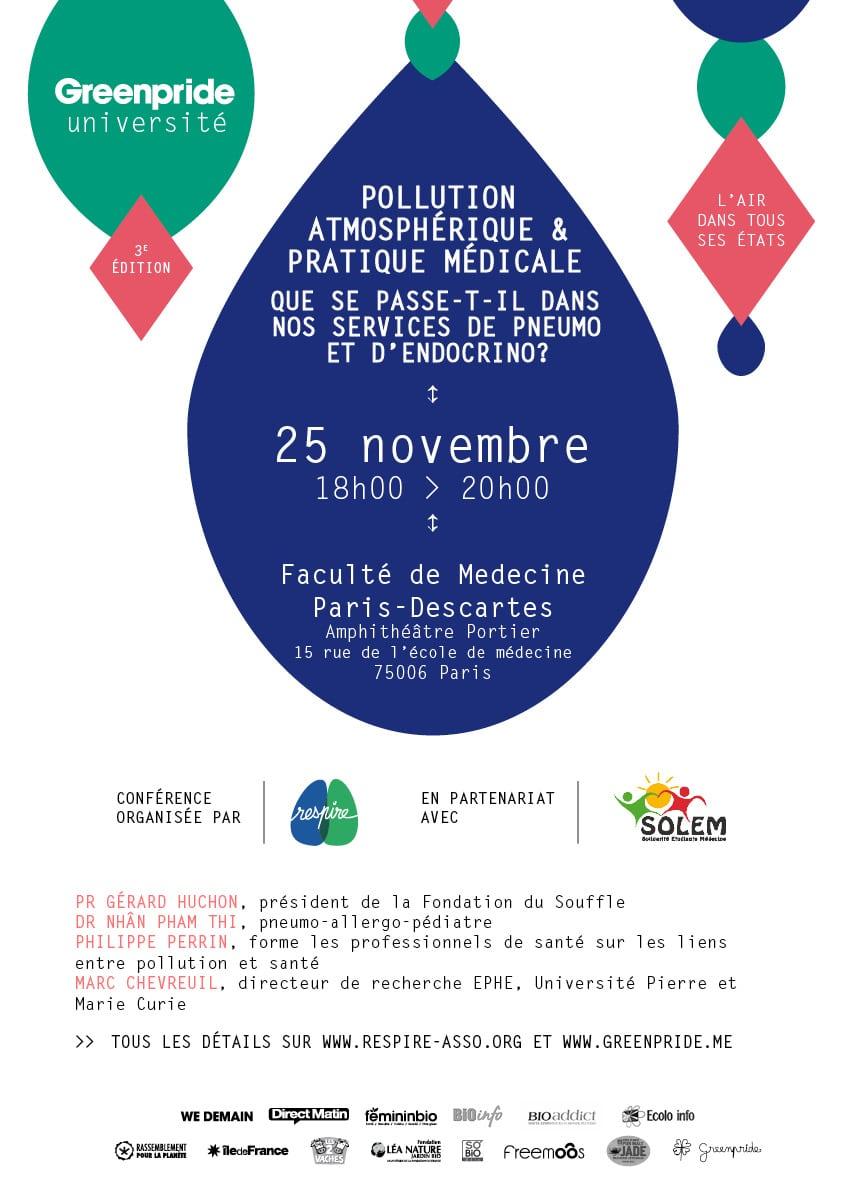 Envie d'en savoir plus sur les effets de la pollution de l'air sur votre santé? RDV mardi 25 novembre à 18:00 à la faculté Paris Descartes!