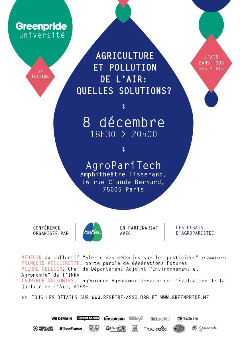 Agriculture et pollution de l'air: quelles solutions? RDV lundi prochain, le  8 décembre à 18:30 à AgroParisTech!