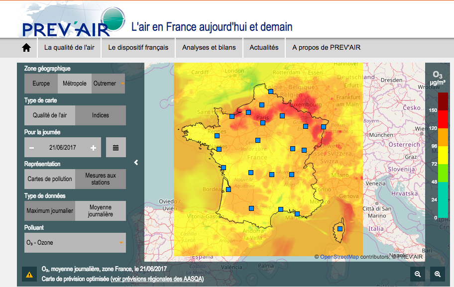 Carte pic ozone France