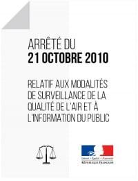 Arreté du 21 octobre 2010 relatif à la surveillance de la qualité de l'air