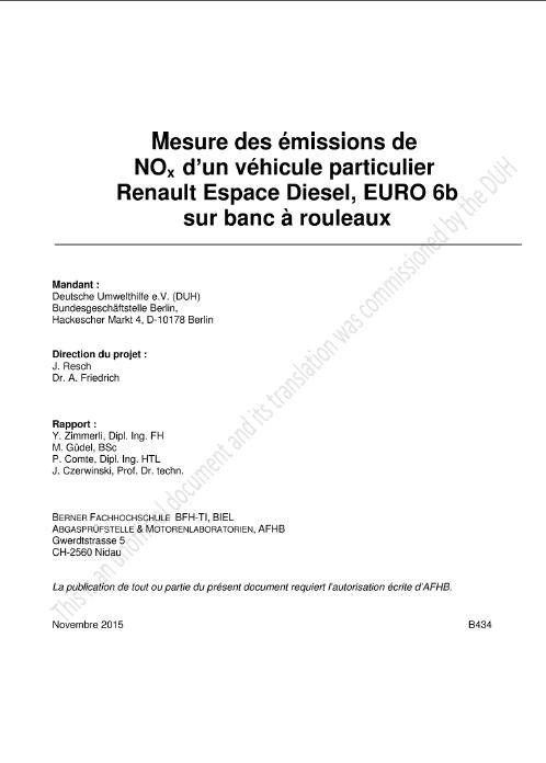 Rapport Emissions Nox Renault Espace DUH