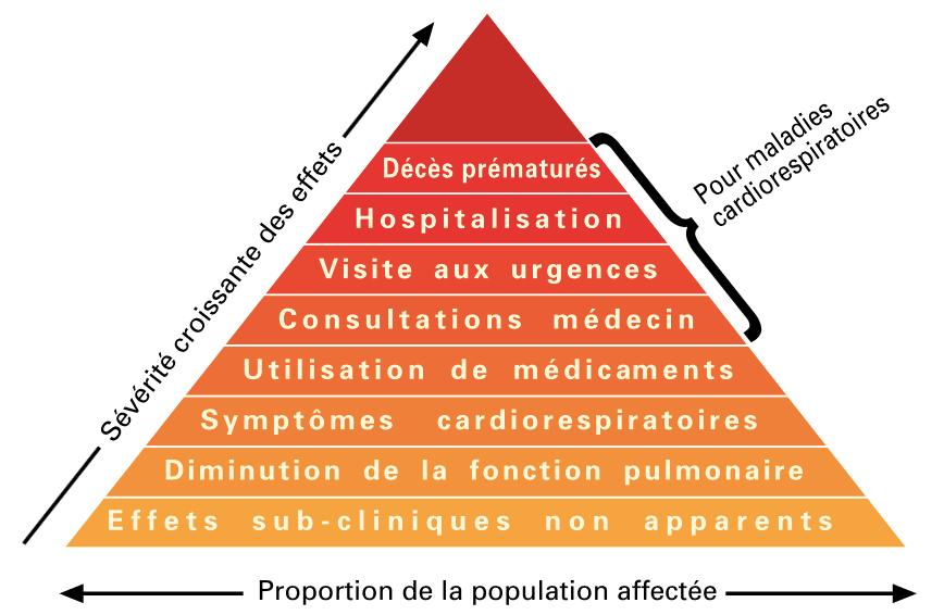 Pyramide des effets aigus associés à la pollution atmosphérique